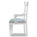 Sidefacing White Chair with Floral Cushion