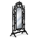 Angled Black Carved Mirror