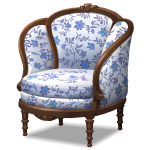 Blue Floral Pattern Armchair