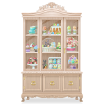 Elegant Beige China Cabinet
