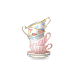 Stack of Pastel Tea Cups