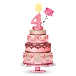 Pink Four Years Old Birthday Cake