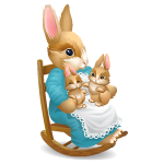 Mother and Baby Rabbits in Rocking Chair