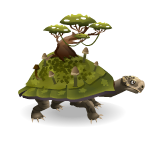 Fantasy Turtle with Swinging Micro Monkey