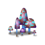 Fantasy Aquamarine Mushrooms