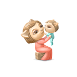 Mother and Baby Wooden Figurine