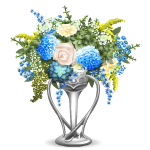 Silver Vase with Flowers