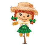 Animated Cheerful Scarecrow Girl