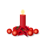 Red Ornaments with Candle