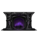 Black Fireplace with Skulls and Bat