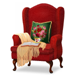 Angled Santa's Hideaway Armchair with Throw