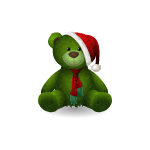 Santa Hat on Green Teddy Bear