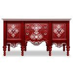 Red and White Old Style Christmas Dresser