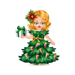 Animated Christmas Tree Doll with Gift Box