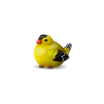 Fat Goldfinch Wooden Figurine