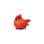 Fat Cardinal Wooden Figurine