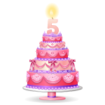 Pink Five Years Old Birthday Cake