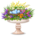 Easter Decorated Flower Bed