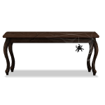 Dark Wooden Table with Spider