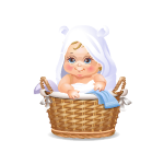 Playfull Baby in Laundry Basket