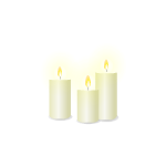 Trio of White Flickering Candles