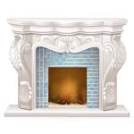 White Fireplace with Blue Tile