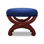 Carved Blue Ottoman