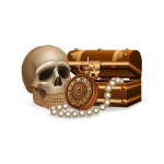 Pirate Chest with Gems and Skull