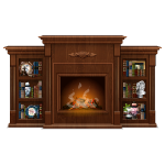 Wooden Fireplace with Shelves