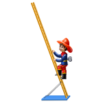 Antique Fireman on Ladder Toy