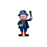 Antique Policeman Clown Figurine