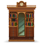 Antique Library Cabinet with Clock