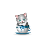 Gray and White Kitten in Cup Figurine