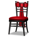 Angled Black Chair with Crimson Bow