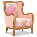 Angled Armchair with Floral Pattern Left