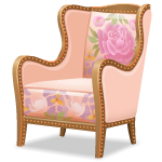 Angled Armchair with Floral Pattern Right