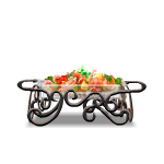 Steaming Food in Wrought Iron Serving Dish