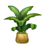 Tropical Plant in Brushed Brass Planter