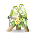 Green Parrots Figurine