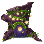 Nighttime Fairy House in Stump