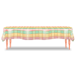 Picnic Table with Pastel Tablecloth