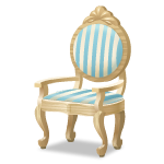 Angled Blue Striped Chair