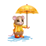 Cute Mouse with Umbrella