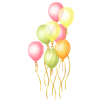 Bundle of Green, Yellow and Pink Balloons