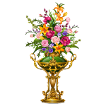 Exquisite Gold and Jade Vase with Flowers