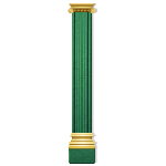 Green Marble Column with Gold Decor