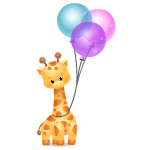 Giraffe Plushie with Balloons