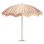 Fringed Beige Beach Umbrella
