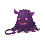 Cheerful Purple Boy Creature