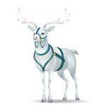 Majestic White Deer with Harness